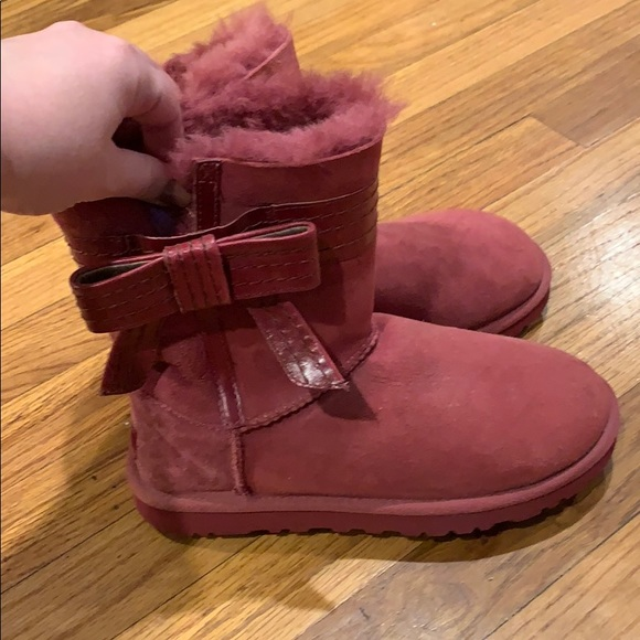 UGG Shoes - Red Leather Bow UGG Australia Boots